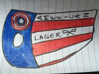 "The suit idea I drew up to send to Kim (side view) ...except we decided against the flags on the side after ""Lager"""